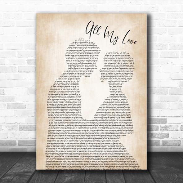 Led Zeppelin All My Love Man Lady Bride Groom Wedding Song Lyric Poster Print