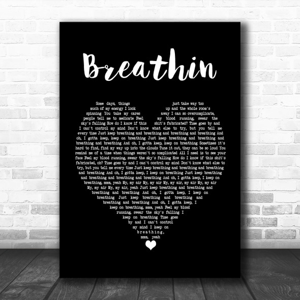 Ariana Grande Breathin Black Heart Song Lyric Poster Print