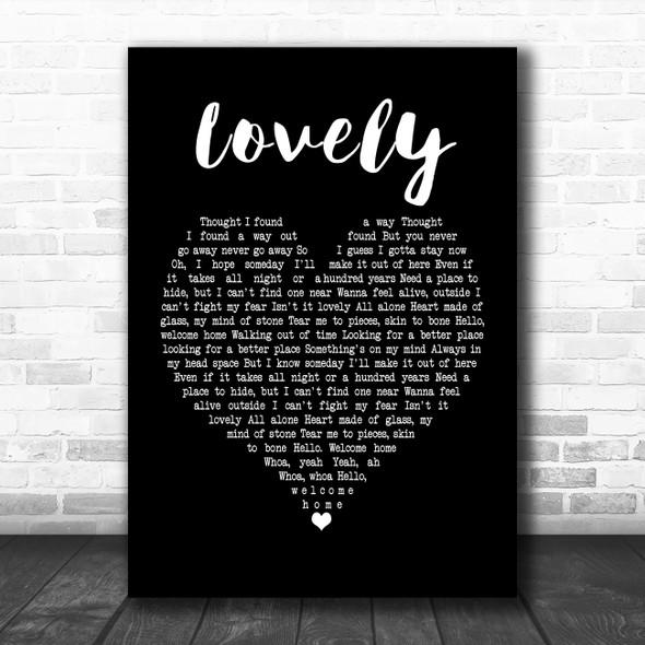 Billie Eilish and Khalid Lovely Black Heart Song Lyric Poster Print