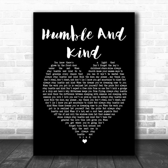 Tim McGraw Humble And Kind Black Heart Song Lyric Poster Print