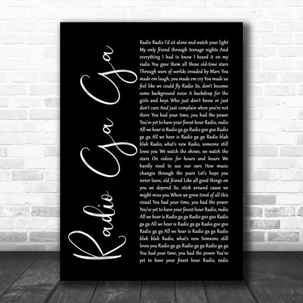 Queen Radio Ga Ga Black Script Song Lyric Poster Print