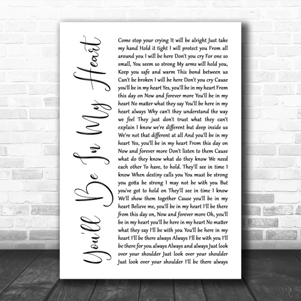Phil Collins You'll Be In My Heart White Script Song Lyric Poster Print
