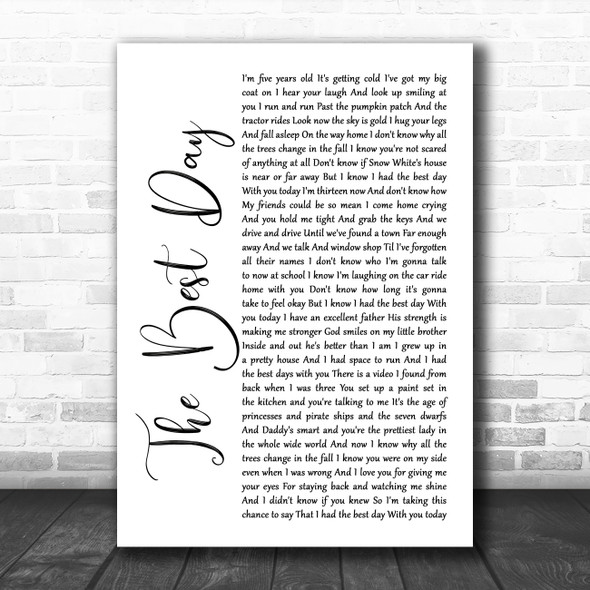 Taylor Swift The Best Day White Script Song Lyric Poster Print
