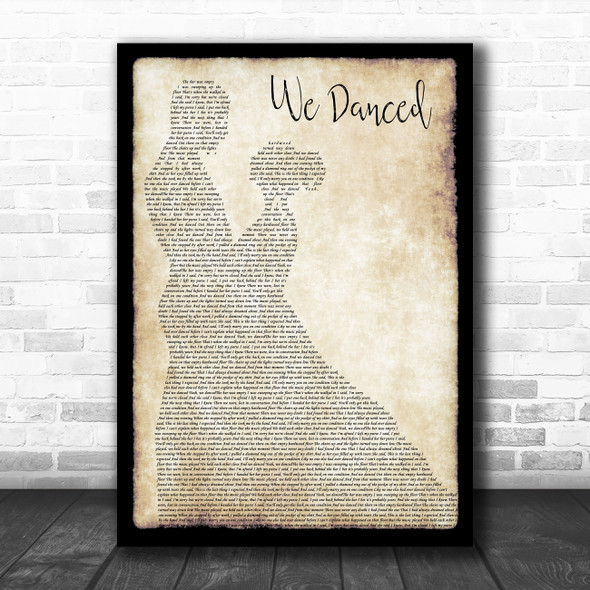 Brad Paisley We Danced Man Lady Dancing Song Lyric Poster Print