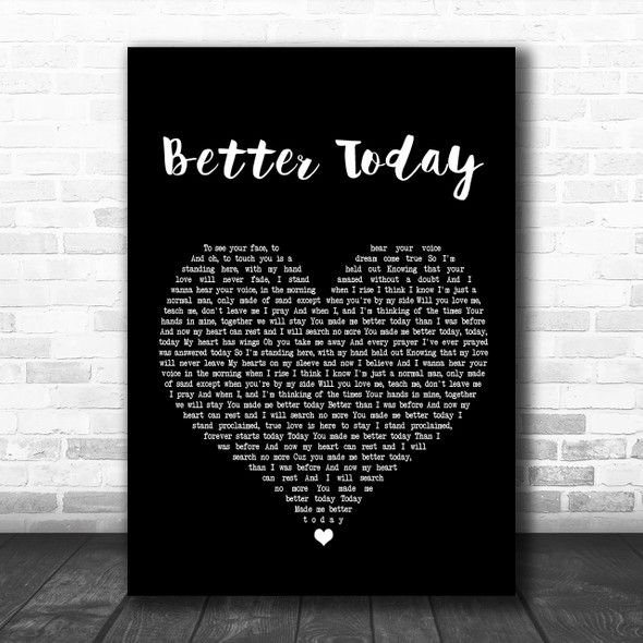 Coffey Anderson Better Today Black Heart Song Lyric Music Wall Art Print
