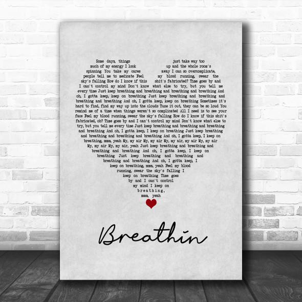 Ariana Grande Breathin Grey Heart Song Lyric Poster Print
