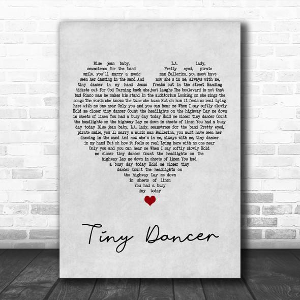 Elton John Tiny Dancer Grey Heart Song Lyric Poster Print