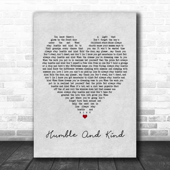 Tim McGraw Humble And Kind Grey Heart Song Lyric Poster Print