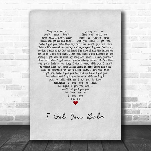 UB40 I Got You Babe Grey Heart Song Lyric Poster Print