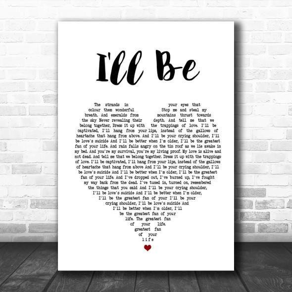 Edwin McCain I'll Be White Heart Song Lyric Poster Print