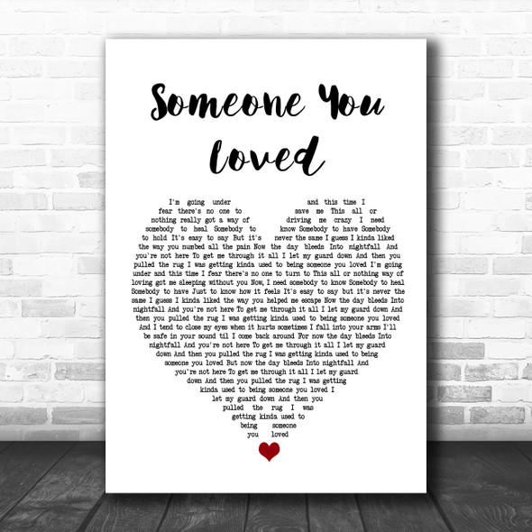 Lewis Capaldi Someone You Loved White Heart Song Lyric Poster Print