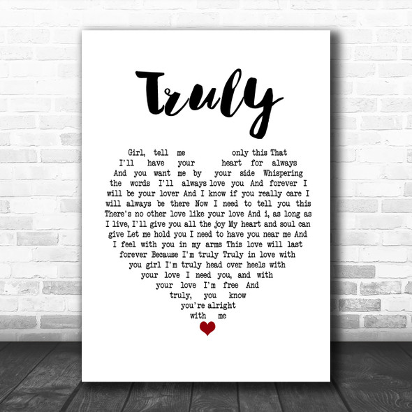 Lionel Richie Truly White Heart Song Lyric Poster Print
