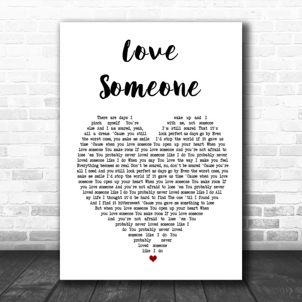 Lukas Graham Love Someone White Heart Song Lyric Poster Print