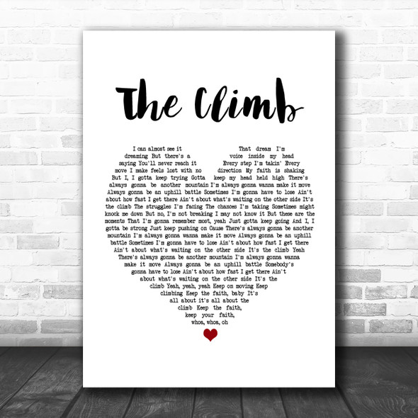 Miley Cyrus The Climb White Heart Song Lyric Poster Print