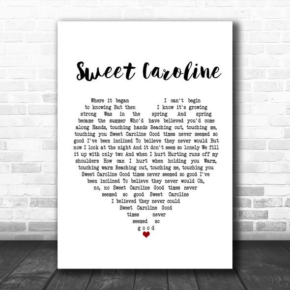 Neil Diamond Sweet Caroline White Heart Song Lyric Poster Print