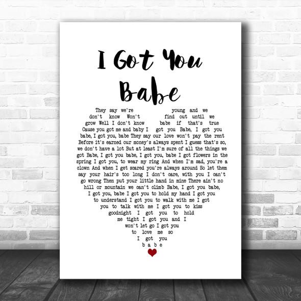UB40 I Got You Babe White Heart Song Lyric Poster Print