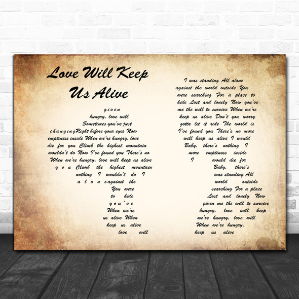 Eagles Love Will Keep Us Alive Man Lady Couple Song Lyric Poster Print
