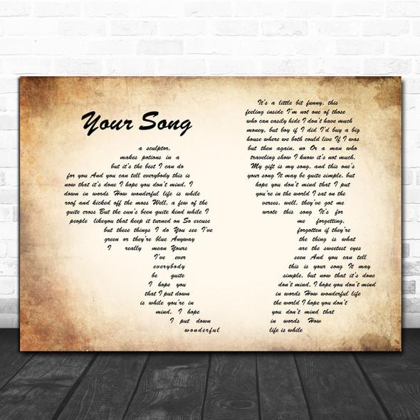 Elton John Your Song Man Lady Couple Song Lyric Poster Print