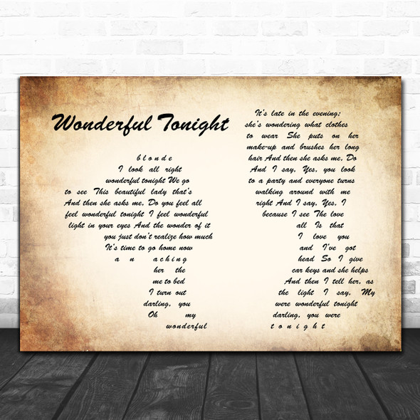 Eric Clapton Wonderful Tonight Man Lady Couple Song Lyric Poster Print