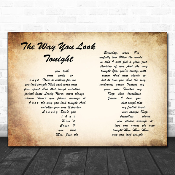 Frank Sinatra The Way You Look Tonight Man Lady Couple Song Lyric Poster Print