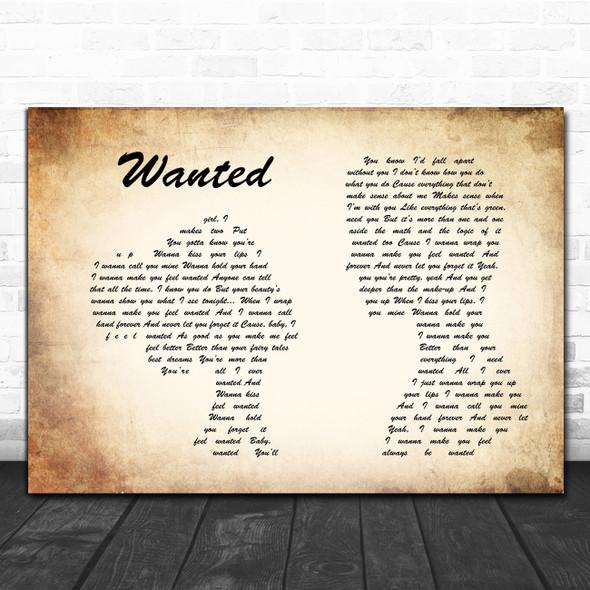 Hunter Hayes Wanted Man Lady Couple Song Lyric Poster Print