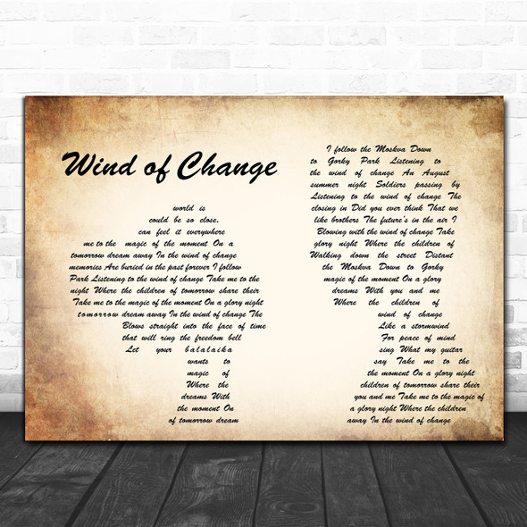 Scorpions Wind of Change Man Lady Couple Song Lyric Poster Print
