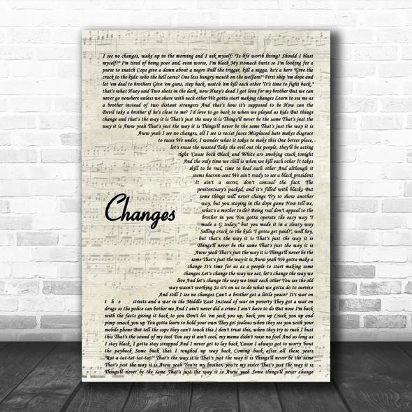 2Pac Changes Vintage Script Song Lyric Poster Print