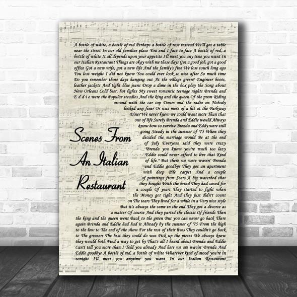 Billy Joel Scenes From An Italian Restaurant Vintage Script Song Lyric Poster Print