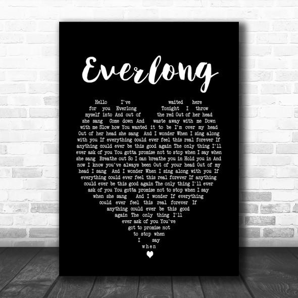 Everlong Foo Fighters Black Heart Song Lyric Music Wall Art Print