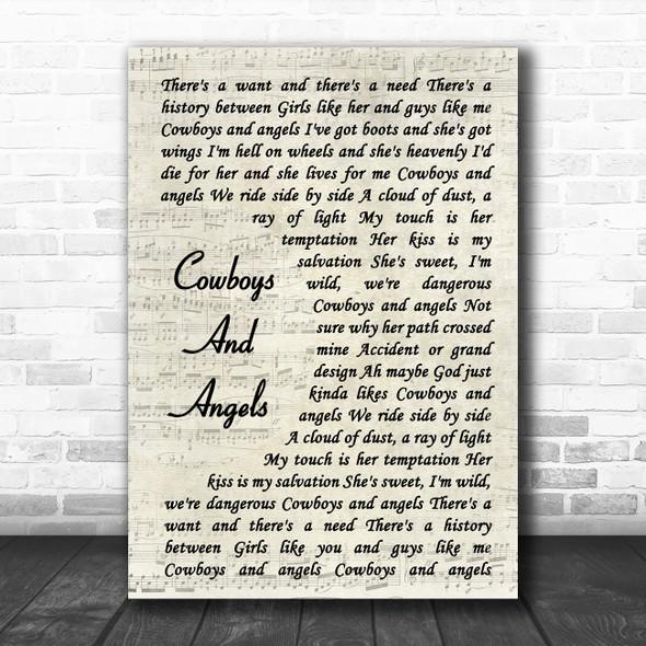Dustin Lynch Cowboys And Angels Vintage Script Song Lyric Poster Print