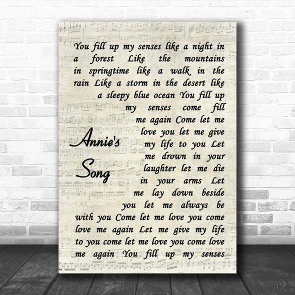 John Denver Annie's Song Vintage Script Song Lyric Poster Print
