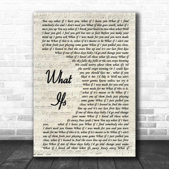 Kane Brown What Ifs Vintage Script Song Lyric Poster Print