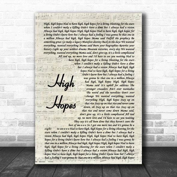 Panic! At The Disco High Hopes Vintage Script Song Lyric Poster Print
