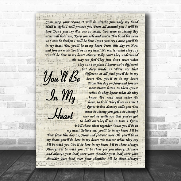 Phil Collins You'll Be In My Heart Vintage Script Song Lyric Poster Print