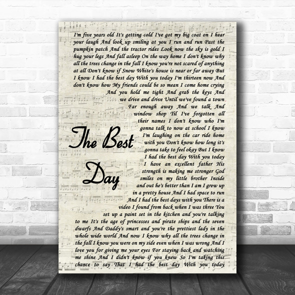 Taylor Swift The Best Day Vintage Script Song Lyric Poster Print
