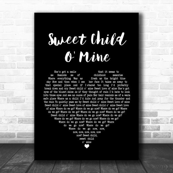 Guns N Roses Sweet Child O' Mine Black Heart Song Lyric Music Wall Art Print
