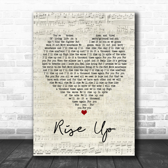Andra Day Rise Up Script Heart Song Lyric Poster Print