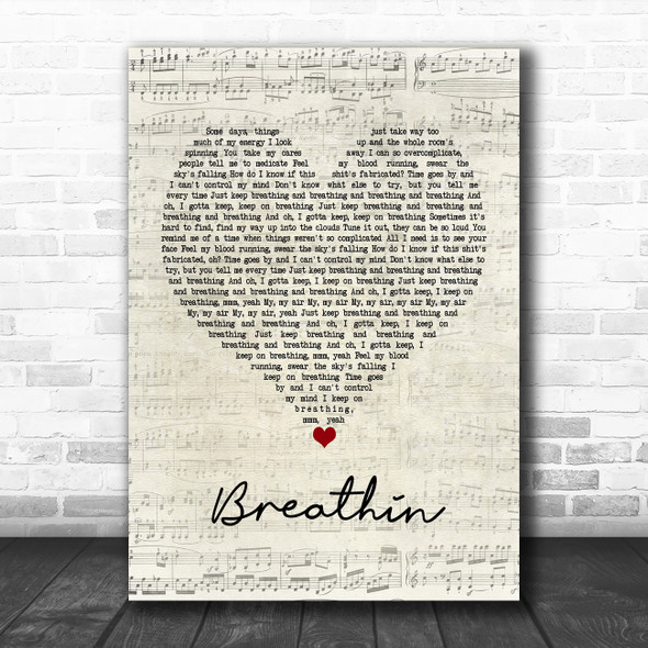 Ariana Grande Breathin Script Heart Song Lyric Poster Print