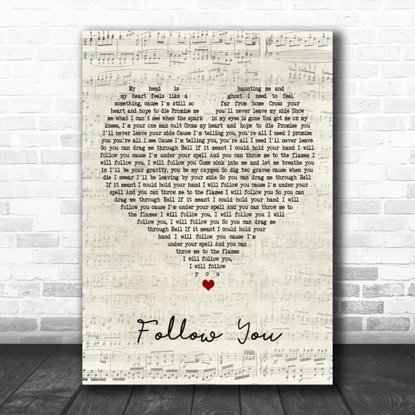 Bring Me The Horizon Follow You Script Heart Song Lyric Poster Print
