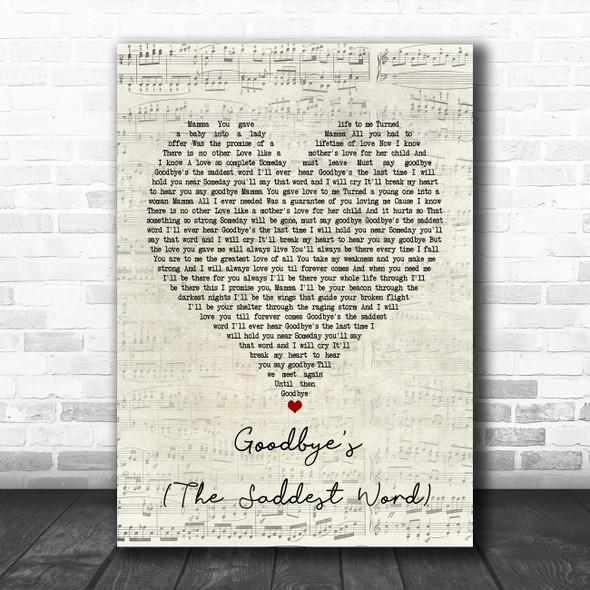 Celine Dion Goodbye's (The Saddest Word) Script Heart Song Lyric Poster Print