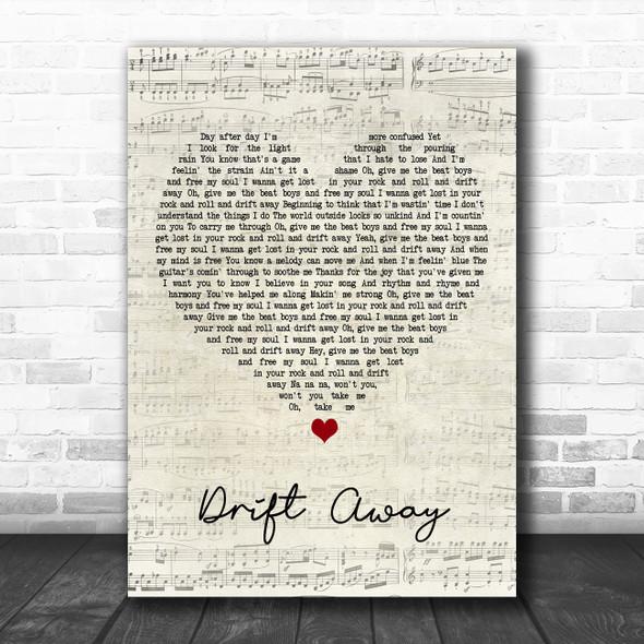 Dobie Gray Drift Away Script Heart Song Lyric Poster Print