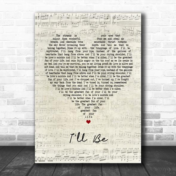 Edwin McCain I'll Be Script Heart Song Lyric Poster Print