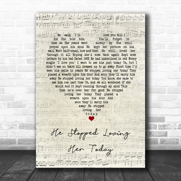 George Jones He Stopped Loving Her Today Script Heart Song Lyric Poster Print