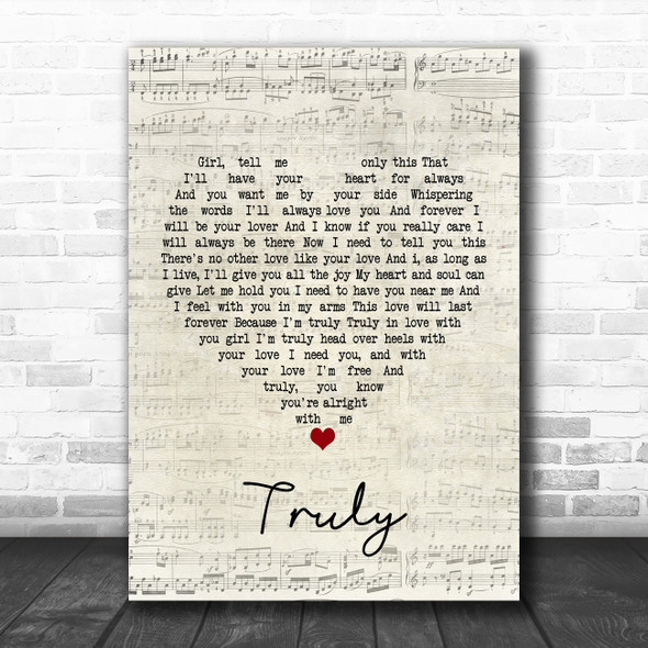 Lionel Richie Truly Script Heart Song Lyric Poster Print