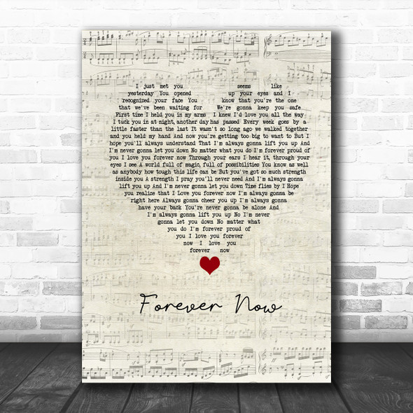 Michael Buble Forever Now Script Heart Song Lyric Poster Print