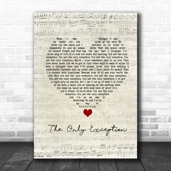 Paramore The Only Exception Script Heart Song Lyric Poster Print