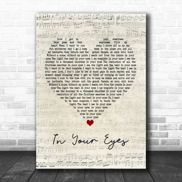 Peter Gabriel In Your Eyes Script Heart Song Lyric Poster Print
