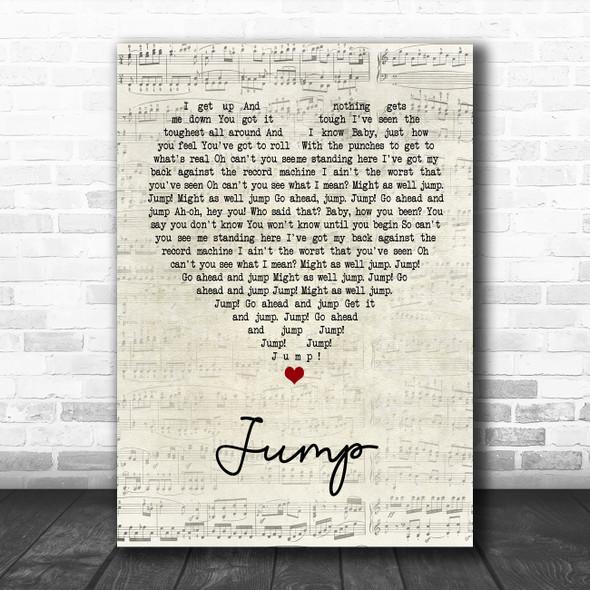 Van Halen Jump Script Heart Song Lyric Poster Print