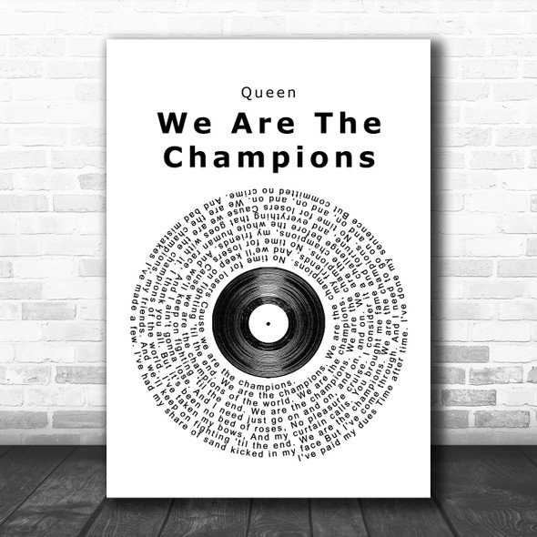 Queen We Are The Champions Vinyl Record Song Lyric Poster Print