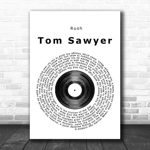 Rush Tom Sawyer Vinyl Record Song Lyric Poster Print